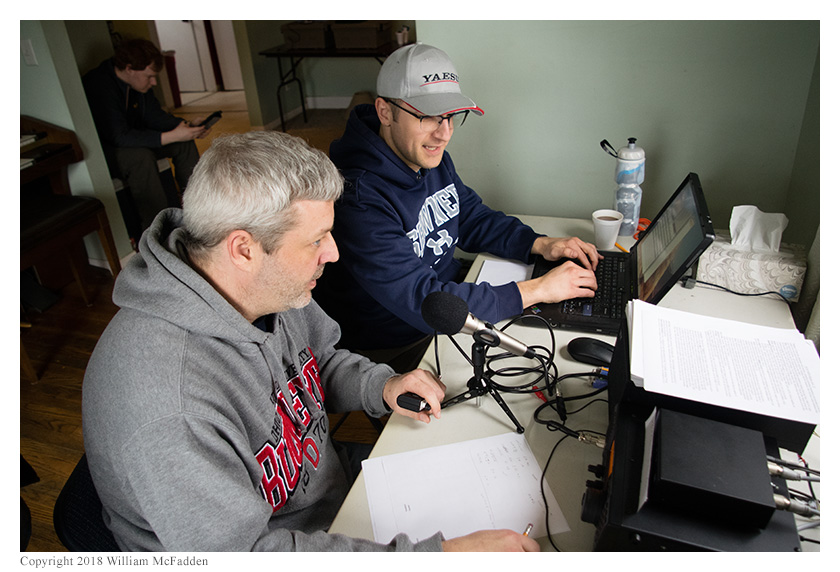 Andy Young, KD8WVX, operates SSB while Josh Cash, KE8EAS, logs