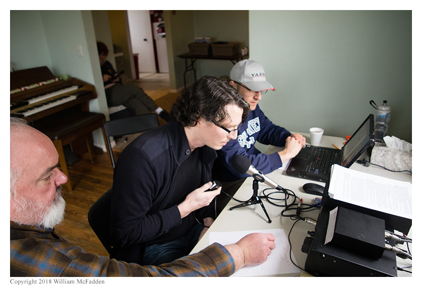 Tyler Hooker, AK5HT, makes his first-ever QSOs while Josh Cash, KE8EAS, logs
