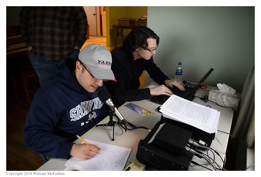Josh Cash, KE8EAS, operates SSB while Tyler Hooker, AK5HT, logs