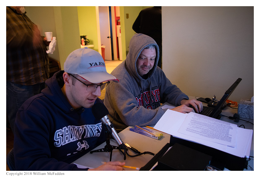 Josh Cash, KE8EAS, operates SSB while Andy Young, KD8WVX, logs