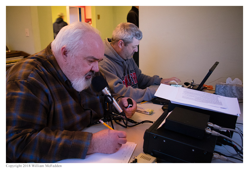Robert Riordan, KA4VNK, operates SSB while Andy Young, KD8WVX, logs