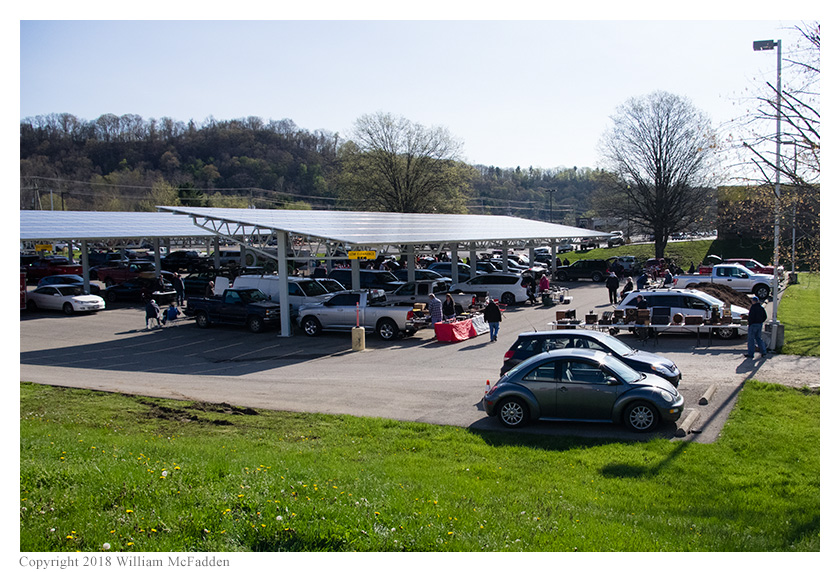 A view of the tailgate area.