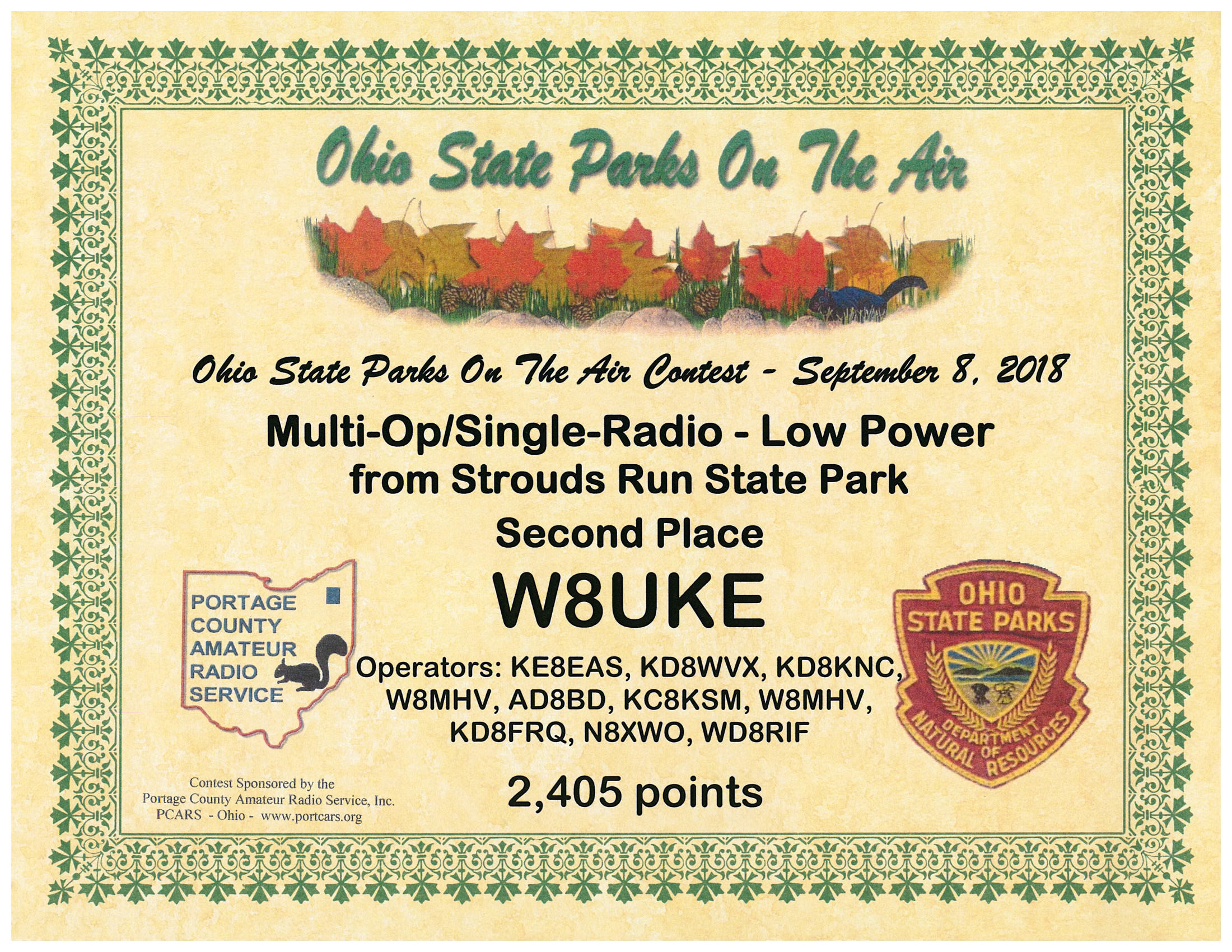"ACARA""s certificate for placing in 2nd place in class during the 2018 Ohio State Parks on the Air"