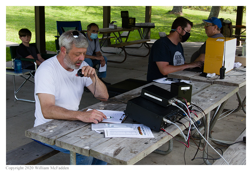 Ohio State Parks on the Air 2020 -- Andy Young, KD8WVX, operates while Joe Weber, KE8LRZ, logs