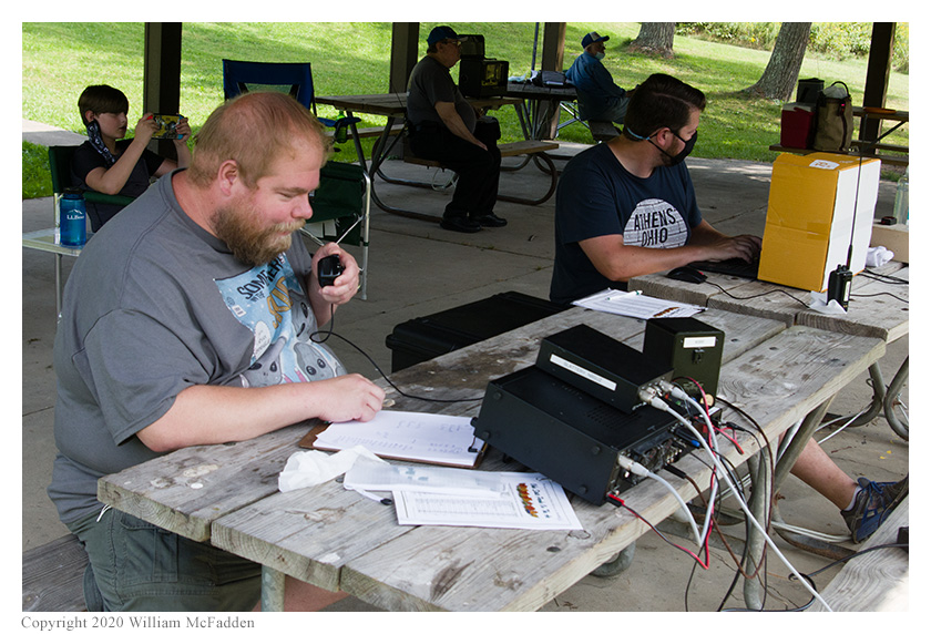 Ohio State Parks on the Air 2020 -- Nick Arnold, KD8FKB, operates while Joe Weber, KE8LRZ, logs