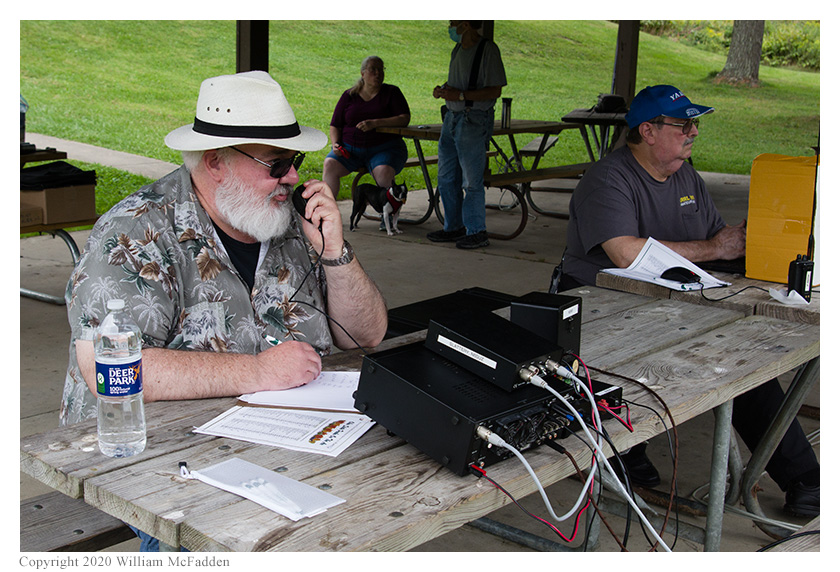 Ohio State Parks on the Air 2020 -- Robert Riordan, KA4VNK, operates while Jeff Slattery, N8SUZ, logs
